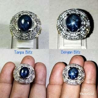 Cincin Batu Blue Sapphire Corondum Star