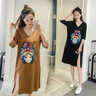 Loose Dress With Slit M-3XL