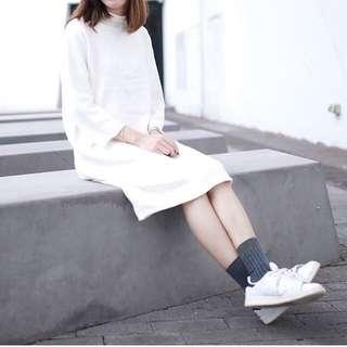 白色 針織 中袖 連身裙 連衣裙