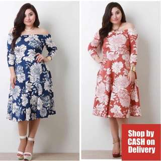 Off shoulder floral dress plus size