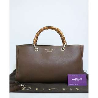 90% New GUCCI 323660 Bamboo 啡色 牛皮 竹 手提袋 肩背袋 手袋 Handle and Brown Calfskin Handbag