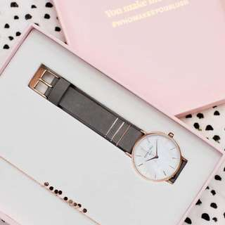 Original Genuine Rosefield Watches (Blushbox - Elephant Grey 33mm Rose Gold Watch & Rose Gold Plated 925 Sterling Silver)