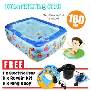 FREE POS Ready Stock Inflatable 3 Rings Family Outdoor Play Swimming Pool 180cm FREE Pump