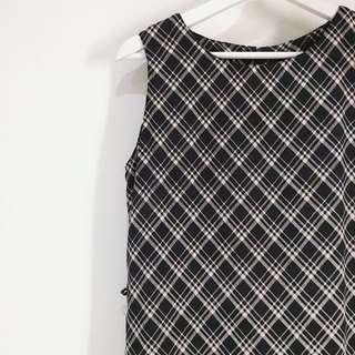 GROUP ✼深藍黑格無袖洋裝✼ 直筒背心裙 學院格紋 過膝雪紡洋裝 90sドレス 日本古着 Vintage