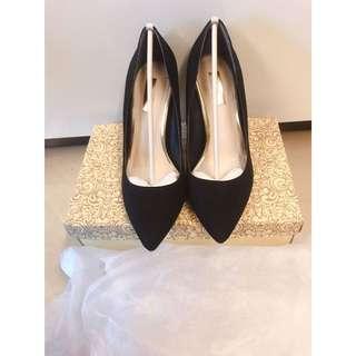 Randa黑色絨皮高跟鞋 23.5