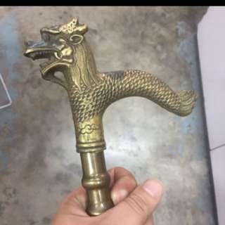 {FS138} Dragon Head Bronze Walking Stick