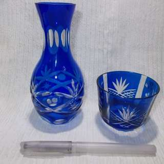 Kiri Cut Glass Sake Jar and Cup