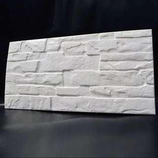 [現貨 in stock] 新款白色複古懷舊石紋立體3D 牆紙 (超立體版)