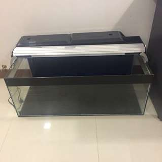 3 ft Fish tank + overhead light + overhead filter