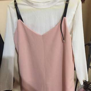 korean two piece dress pink
