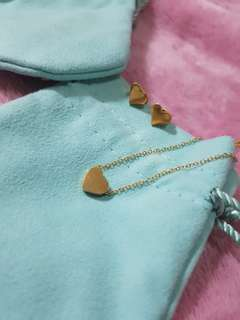 Mini Heart Pendant Necklace and Earring Set