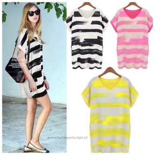Printed Stripe Combined Dress Blouse