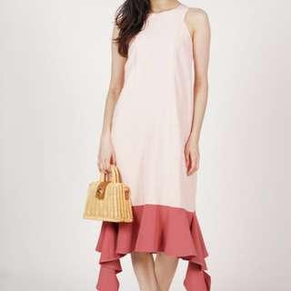 MDS Uneven Hem Contrast Dress in Pink