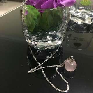 White Gold Chain & Rose Quartz Pendant