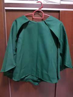 Unique / Special Sleeve Dark Green Blouse / Top