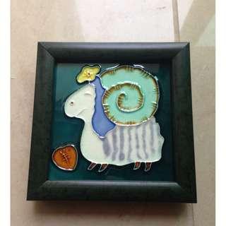 Sheep ceramic glass framed tile ornament 綿羊陶瓷玻璃面擺設