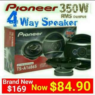 "Car Speakers  Pioneer 4 Way 350Watts  Speakers( 16cm/6.5"" )with built-in Balanced dome + Super Tweeter. Model: TS-A1686 Usual price: $169.90. Special Price: $84.90 (Brand New in Box & Sealed) Whatsapp 85992490  to collect from any mrt stn in town."
