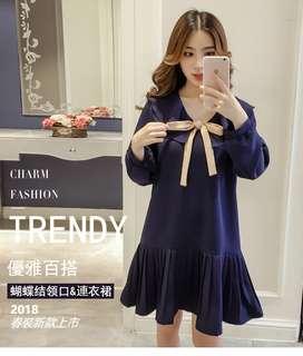 2018大碼女裝春裝新款 仙女減齡遮肚子藏肉顯瘦胖mm連衣裙100公斤可穿