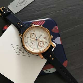 [2 Years Warranty Included] Fossil Watch Women - Blue Leather