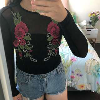 Embroidered Floral Bodysuit