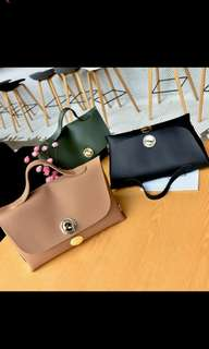 (PO) Women Button Patched Handbag