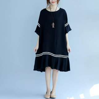 [PO] Minimalist Loose-Fit Ruffles Dress (50)