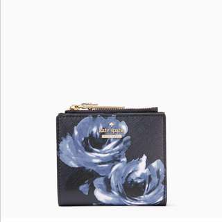 SALE Kate Spade Midnight Rose Navy Blue Adalyn Small Wallet