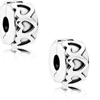 Pandora row of hearts 791978 clip set of 2, sterling silver