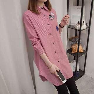 😎PO: stripes plus size shirt @ $28 (PC: A01983)