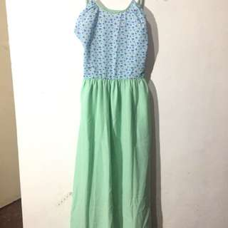 Long floral green open back dress