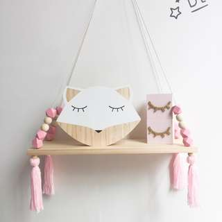 DIY Nursery Hanging Wooden Beads Wall Shelf
