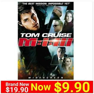 TOM CRUISE MISSION IMPOSSIBLE 3  DVD MOVIE:.  Region code:3 . Usual Price: $19.90  Lowest Price: $ 9.90 + Free Mail postage (Brand New In Box & Sealed) oR  whatsapp  85992490 To  Pick Up From Any Mrt Stn in Town. Last 2 piece left