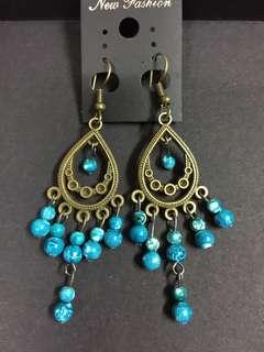 100%泰國製 民族風耳環 吊耳環 波希米亞 湖水藍色