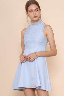Baby Blue Dress with removable collar