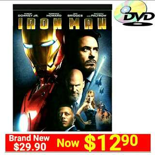 Brand New DVD MOVIE IRON MAN (MARVEL)(Orginal Brand New in box and sealed) Usual Price: $29.90 Special Price:$12.90 + Free Mail Postage Delivery. Or Whatsapp 85992490 to collect Today.