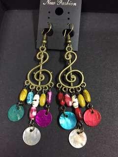 100%泰國製 民族風耳環 吊耳環 波希米亞風 彩色 音樂符號