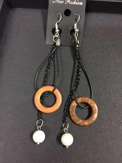 100%泰國製 民族風耳環 吊耳環 波希米亞風 木&珠珠