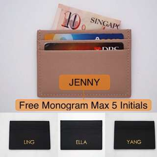 LM001- Personalised Cardholder Personalised Nude Genuine Saffiano Leather Card Holder 5 Slots Personalised Card Holder Free Monogram Max 5 CAP Initials on 1 side - Made To Order-LM091-Nude
