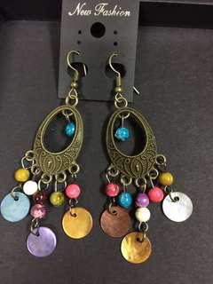 100%泰國製 民族風耳環 吊耳環 波希米亞風 彩色