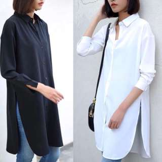 (S~5XL) Long chiffon shirt female long paragraph loose large size side split white shirt