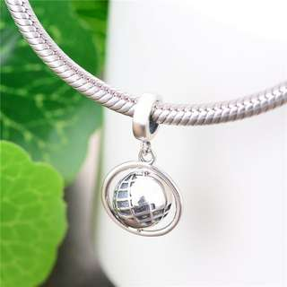 Code MS440 - Earth Globe 100% 925 Sterling Silver Charm, Chain Is Not Included, Compatible With Pandora