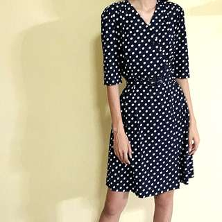 Vintage Sogo Navy & White Polka Dot Textured Wrap Dress with Scallop Lapel