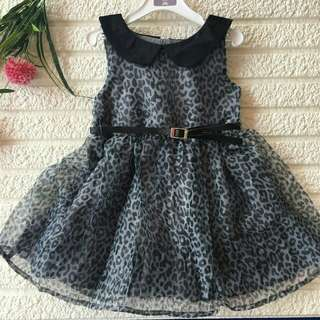 *FREE DELIVERY to WM only / Ready stock* Kids dress blk leopard 9-36mth each without belt shown design/color. Free delivery is applied for this item.