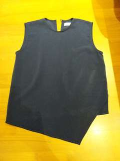 Polyester top navy blue