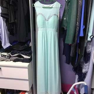 Bridemaid dress gown Tiffany green mint
