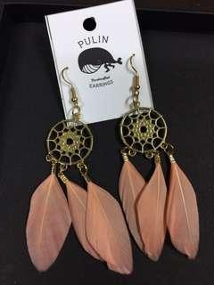 100%泰國製  淡粉紅色羽毛耳環 吊耳環 波希米亞風 民族風