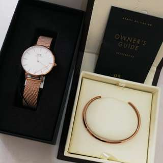 Daniel wellington 32mm melrose watch & rose gold cuff set
