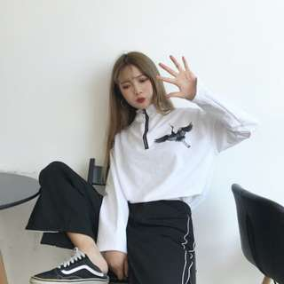 #794 ulzzang chic crane doodle oversized o ring zipped up top