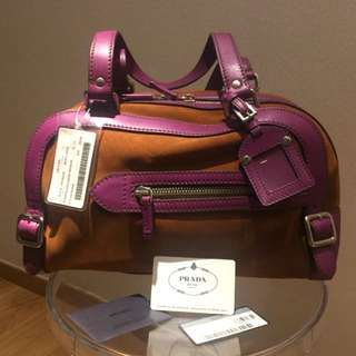 Brand new Prada chocolate & violet Suede bag