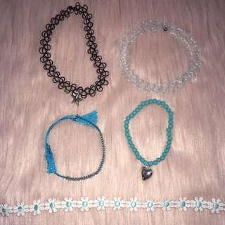 Assorted Chokers + Bracelets